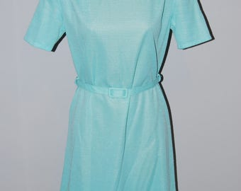Vintage Turquoise Dress & Jacket Late 50's early 60's Size Small