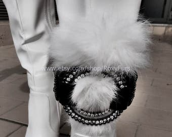 Boot belt ankle cuff with rhinestones and fur