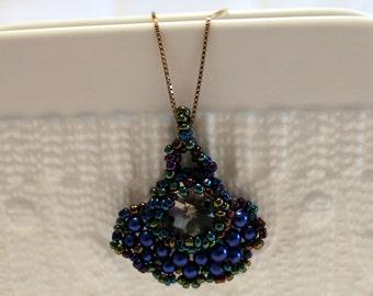 Beautiful blue-beaded handmade pendant; beadweaving, colorful, cute, elegant
