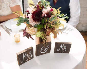 Mr. & Mrs. Small Sweet Heart Wedding Table Signs