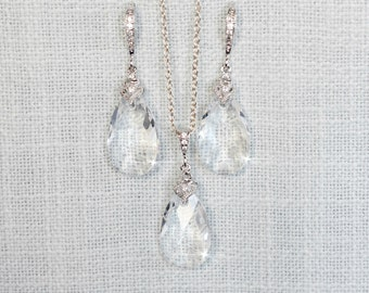 Handmade Swarovski Crystal Clear Dangle Necklace & Earrings Set, Bridal, Wedding (Sparkle-2697)
