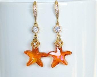 Handmade Orange Swarovski Astral Pink Crystal Starfish and CZ Dangle Earrings, Destination Wedding, Beach Wedding (Sparkle-2084-U)