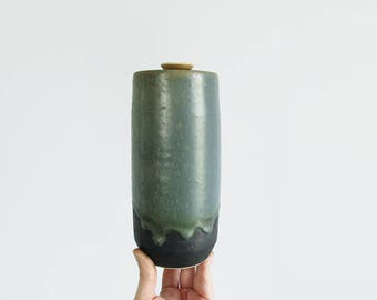 vintage pottery jar / mid century modern ceramic canister / tall cylindrical drip glaze jar with lid / studio pottery vessel