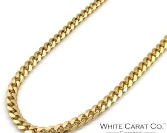10K Gold 3mm Semi-Solid Miami Cuban Chain