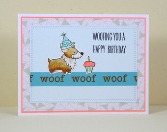 Corgi Birthday Card, Handmade Corgi Card, Corgi Greeting Card, Dog Birthday Card