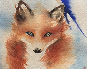 Watercolour painting, Swallow bird and Fox