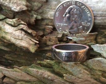 Ohio state quarter coin ring
