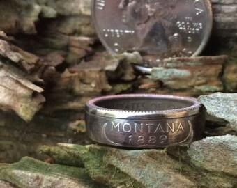 Silver Montana quarter coin ring