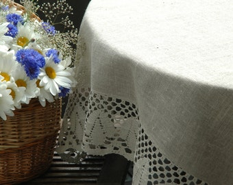 Natural Linen Tablecloth With Linen Lace, Rustic Linen Tablecloth With Lace, Square Tablecloth, Round Tablecloth