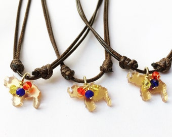 Venezuela necklace, Venezuelan map, Venezuelan flag, crystals, I love Venezuela, Snake cord necklace, Crystals necklace, Venezuela,
