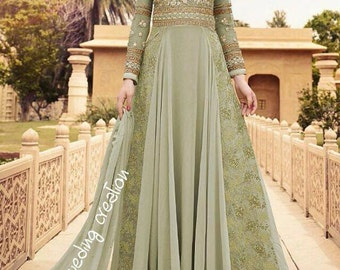 indian pakistani dress green color saree sari indian dress long sleeves dress 2017