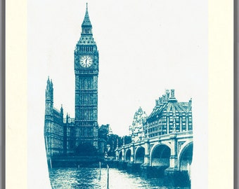 The Big Ben - Own Cyanotype Handmade Artwork