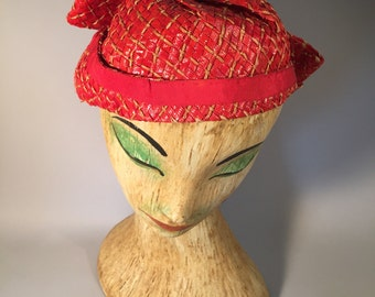 1950s red hat | red straw hat | vintage hat