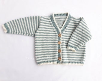 Knitted baby cardigan-hand knitted baby clothes-striped cardigan-3-6 months baby-merino wool baby cardigan-baby shower gift-MADE TO ORDER
