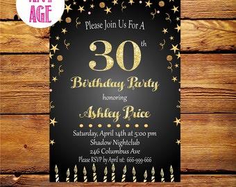 30th birthday invitation women,Thirty and fabulous, Women 30th 40th 50th 60th 70th Any Age Bday Invite,Printable digital DIY.