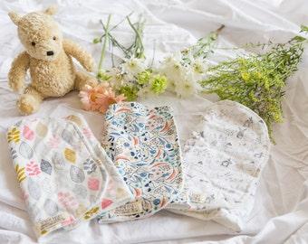 Boho Girl, Set of 3, Burp Cloths, Organic Bamboo Terry, Gift Set, Baby Shower