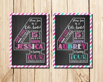 4th Birthday Invitation Girl, Сhalkboard, Fourth Birthday Invitation, Girl Birthday, Pink, Purple, Chalkboard, multicolor, 4th Birthday