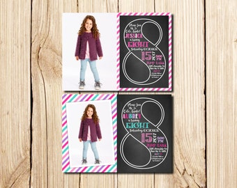 8th Birthday Invitation Girl, Сhalkboard, eighth Birthday Invitation, Girl Birthday Invitation, Pink, Purple, Chalkboard, with Picture