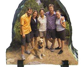 Half Oval Shaped Full Color Slate Pet Memorial. In Loving Memory, Rainbow Bridge, Portrait Plaque, Sympathy Gift,  Pet Memorial Stone