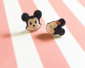 Disney Mickey Mouse and Minnie Mouse Earrings, Kawaii Studs, Cute Cartoon Character Stud Earrings, Handmade Mismatched Studs, Gift for Her