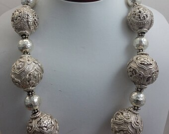 Tibetan or Chinese Sterling Silver Round Bead Necklace w/ Hill Tribe Silver Round Beads & Small Sterling Silver Beads and Clasp