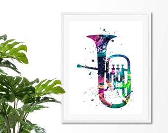 Tuba 1 Fine Art Print, Poster, Wall Art, Home Decor, Kids Wall Art, Play Room Wall Art, Archival print