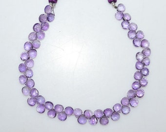 """Natural Amethyst Faceted Heart Shape Beads - Amethyst Heart Shape Briolette , Amethyst Briolette , 5.5x5.5 - 6x6 mm , 8"""" , BL2026"""