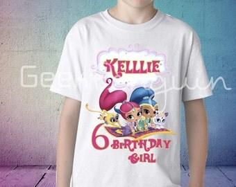 Shimmer and Shine Birthday Shirt, shimmer and shine Custom Shirt, Personalized shimmer Shirt, shine family shirts, Birthday t-shirts