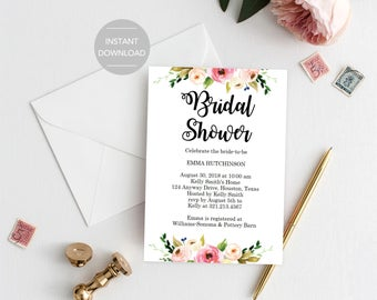 Bridal Shower Invitation, Printable Bridal Shower Invitation, Floral Bridal Shower Invitation, Bridal Shower Invitation Template