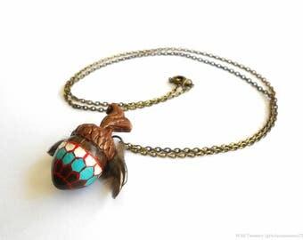 Mulgore Acorn Necklace - Woodland Polymer Clay Jewelry - Bohemian Tauren Fantasy Charm - Boho Chic