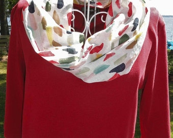Lightweight Multicolor Infinity Scarf // Organic Cotton // Gifts for Her // Spring Accessories // Red, Pink, Teal, Navy, Mustard, White