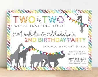 Noah's Ark Invitation, Two by Two, Second Birthday Party, Twins Birthday - Rainbow - Personalized, Printable