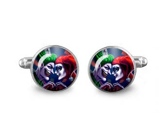 Harley Quinn Joker Cuff Links 16mm Villains Cufflinks Gift for Men Groomsmen Novelty Cuff links Fandom Jewelry
