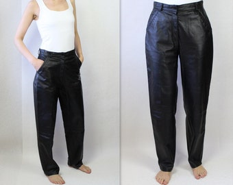 Vintage 80s Leather Pants Women's Black Leather Trousers Real Leather High Waist Pants Genuine Leather Tapered Leg Pants Large Size
