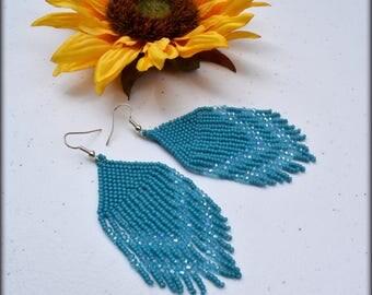 Fringe earrings,Beaded fringe earrings,Blue Earrings,Birthday gift,Nickel free,Seed bead Earrings,Gift for her,Short Earrings,Classic fringe