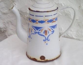 French antique enamelware coffee pot. Art Nouveau stencilled design