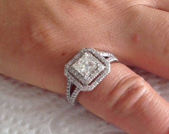 Certified 2.25 CT Princess cut Diamond engagement Ring 14k white gold  hand made