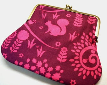 Clutch Purse Pink Forest Kiss Lock Pouch