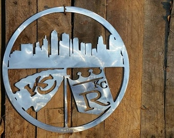Kansas City Skyline Chiefs and Royals Sign for Mancave Football Baseball Metal Sign