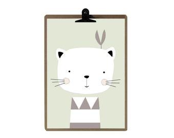 Cat nursery print - Nursery art prints - baby nursery decor - nursery wall - Children Art - Kids Room