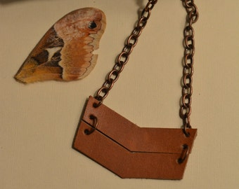 Chunky Leather Chevron Necklace