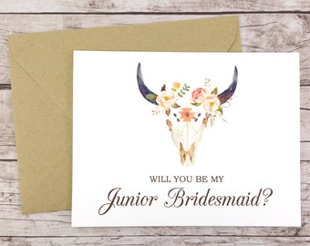 Will You Be My Junior Bridesmaid Card, Bridesmaid Proposal Card, Floral Bridesmaid Card, Wedding Card, Rustic Bridesmaid Card - (FPS0010)