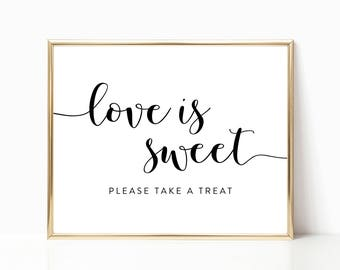Love is Sweet Sign, Please Take a Treat Sign, Bridal Shower Sign, Wedding Sign, Reception Sign, Printable Sign, 8x10 Sign - FPS002S