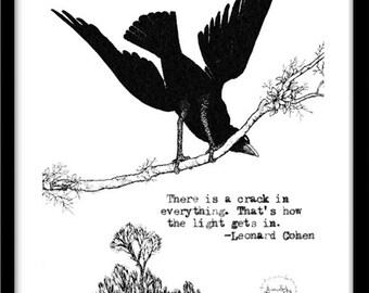 Black Raven, Leonard Cohen Quote, Vintage Raven Illustration Art Print
