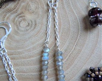 Earrings dangling long - Labradorite, sterling silver 925 - Bohemian chic - made in France