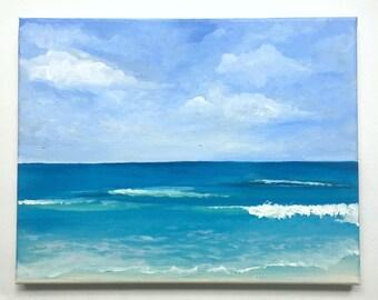 """Sunny Beach Day Acrylic Painting, Canvas 11"""" x 14"""""""