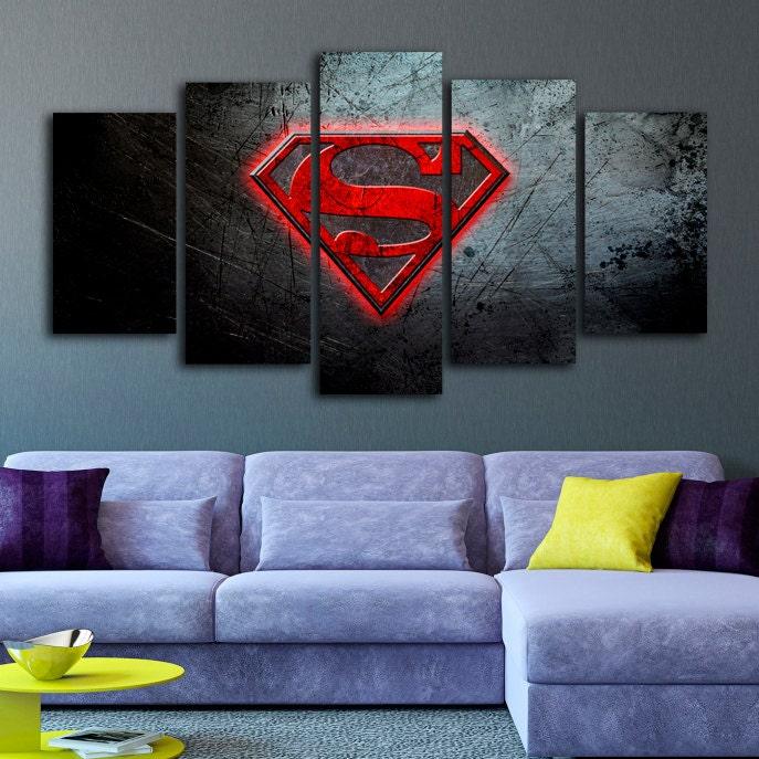 Superman logo canvas print superman extra large wall art art for Extra large wall art
