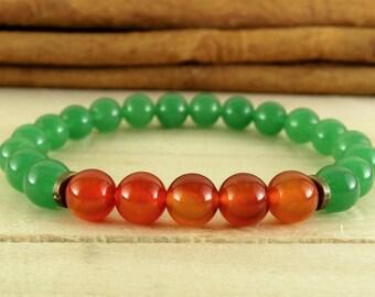 Fertility, Jade Green jewelry, Jade stone, Fertility bracelet, Carnelian jewelry, Jade bracelet, Wrist mala, Gemstone jewelry, Heart chakra