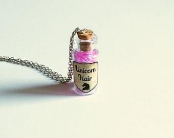 Unicorn hair necklace | Unicorn hair in glass bottle