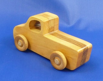 Wooden Toy Pickup Truck Handcrafted from Reclaimed Hardwood